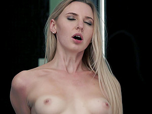 Blonde vixen in shorts Amber B sucks and rides dick like a nympho