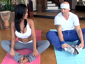 Stunning Priya Rai fucks a man at the yoga session