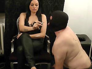 german bdsm fetish slave and his smoke femdom
