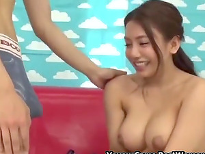 Japanese Horny Young Couple In Porn Game In Window Walls