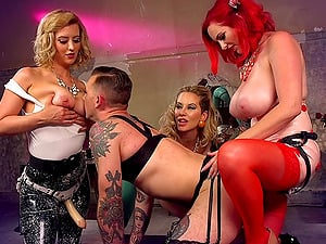 BDSM femdom fetish orgy with three kinky babes and their slave