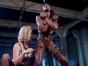 BDSM tied up torture with spanking with Cherry Torn and Ana Foxxx