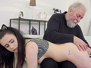 Caroline Mann seduces and fuck older man on the bed like never before