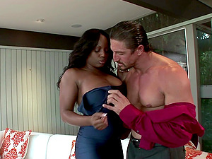 chubby ebonyJada Fire likes to ride on a black cock until they both cum