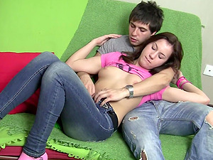 sweet girl Marry ramming a fat friend's penis on the couch until they cum