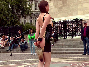 Slut humiliated in public and fucked in front of a lot of people