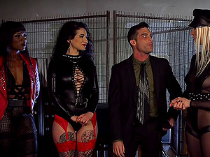 Arabelle Raphael and her friends having sex with treir male slave