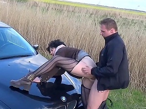 german mature gilf outdoor fuck with young guy