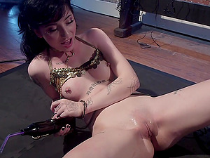 Charlotte Sartre and Lorelei Lee enjoy lesbian sex with sex machines