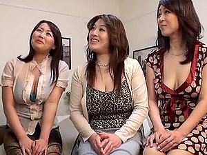 Three Japanese Mummies having wild CFNM bang-out with one stud