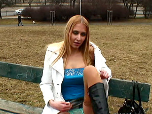 Uber-cute Blonde Euro Stunner Deepthroats On Sausage Meat In The Park
