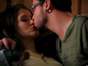 Slender dark haired honey is having a very first time lovemaking with her fresh BF