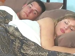 Blonde step mom fucks with her step son before falling asleep