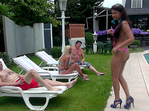 Kitana Lure and her friends got talked into sucking cocks outdoors
