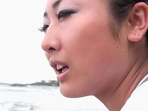 Asian babe Riko Fujitani wants to drool on a friend's cock