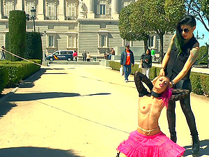 Pink haired Erika Sevilla tied and humiliated in the public place