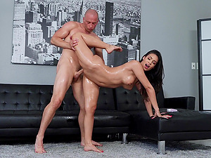 Oiled up girl Katana Kombat knows what pleases her friend
