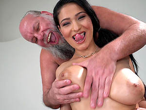 Lucky old guy gets to fuck Ava Black while she moans loudly