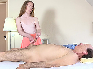 Young sweetie Emma Fantasy massages an old cock with her pussy