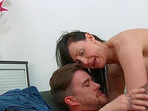 Lara Latex ramming a big and fat friend's penis until both cum together
