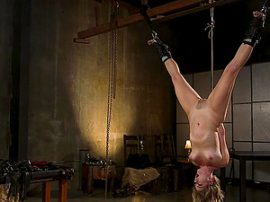 Brave blonde Lisey Sweet want to try all sex machines and BDSM games