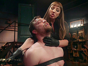 Mistress Kara wants to punish her tied lover with BDSM sex game