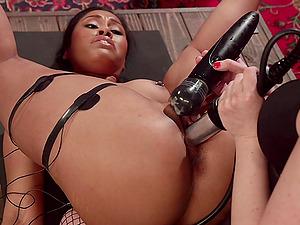 Interracial bondage session with Yasmine de Leon and Cherry Torn