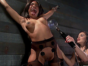 Tied Lea Lexis  is ready for rough lesbian BDSM and sex toys