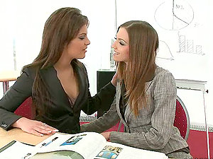 Smoking hot honies are acting horny int he office