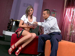 Asian Man Fucking a Long-Legged Milky Chick's Cootchie and Bootie