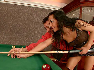 Brown-haired Stunner Janet Joy Playing Pool with Two Big Cues