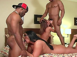 sexy brunette and Extreme Holly enjoy hardcore foursome on the bed
