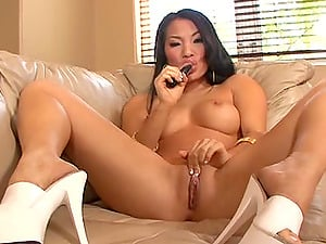 Hottest Asian Brunette Babe Dildos Pussy And Ass