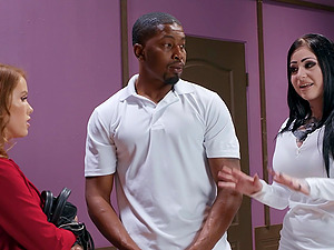 Black guy got surprised with sucking and hard sex by Megan Rain