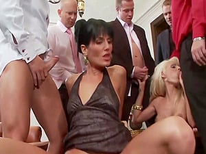 gangbang after party is all about this milf Sarah Twain talking