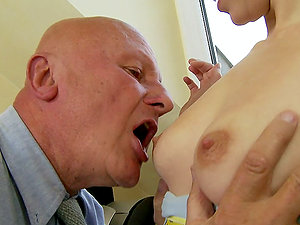 Teenager Brown-haired Cutie Likes Grandpa Dick