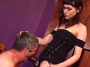Audrey Noir plays with a strapon and her older friend for the best cum