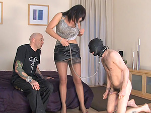 Mistress Carly forces her slave to watch her have hard plunging