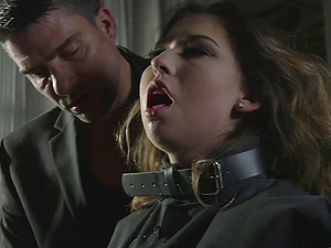 Tied up babe Melissa Moore tortured and forced to suck a dick