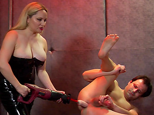 Aiden Starr tortures flat chested Lena Starr and a helpless dude
