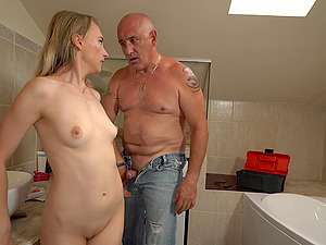 Lily Ray gets her pussy pounded before an memorable orgasm by a plumber