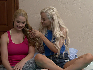 Elsa Jean and Sarah Vandella are ready for the first lesbian experience