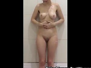 Pretty Hottie Fucks Her Pussy Using Her Favorite Dildo In The Shower