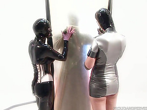 Costumed latex chick has amazing fucking skills and likes role play