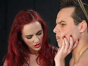 A dude enjoys BDSM kinky games with Mz Berlin while he hangs