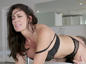 a hard working day for a dude turns to strong sex with Reagan Foxx