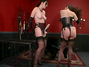 Girly-girl Strapon Hookup with Anastasia Pierce and Jewell Marceau in the dungeon space