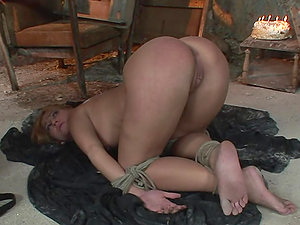 Blonde cutie Linda gets tied up and fucked hard in garage