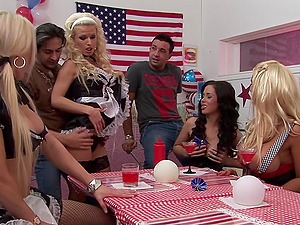 costumed Amy Azzura and her friends adore group sex together