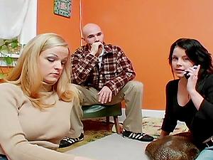 Hairless guy enjoys a blowjob by Janessa Jordan before hard sex